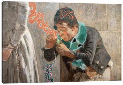 Charlotte Corday -Man with Fox Scarf  Canvas Art Print