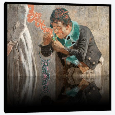 Charlotte Corday -Man with Fox Scarf Orange, Pink, and Turquoise Canvas Print #RRX9} by 5by5collective Canvas Art
