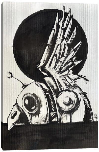 Bird Robot Drawing Canvas Art Print