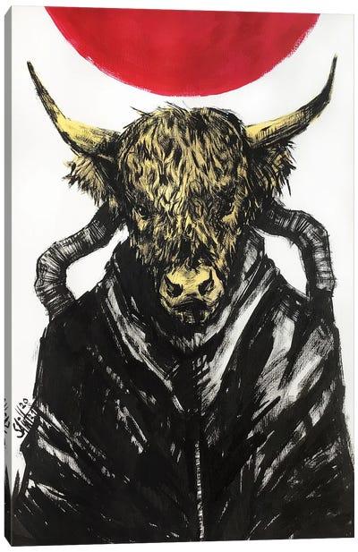 Bull Cyberpunk Canvas Art Print
