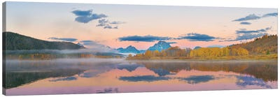 Sunrise at Oxbow Bend in fall, Grand Teton National Park, Wyoming I Canvas Art Print