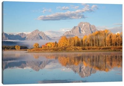 Sunrise at Oxbow Bend in fall, Grand Teton National Park, Wyoming II Canvas Art Print