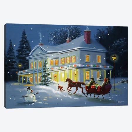 "Horse Sleigh - Christmas Canvas Print #RSR107} by D. ""Rusty"" Rust Canvas Art Print"