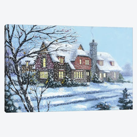 """House With Wintry Mix Canvas Print #RSR122} by D. """"Rusty"""" Rust Canvas Artwork"""