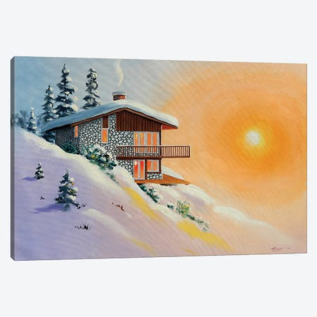 """Chalet In Snow At Sunset Canvas Print #RSR124} by D. """"Rusty"""" Rust Canvas Art Print"""