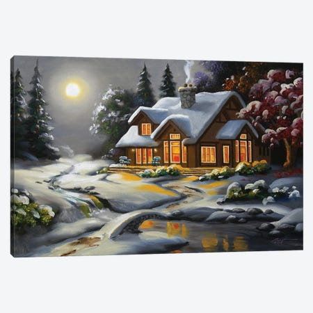 """Moonlit House In Snow Canvas Print #RSR126} by D. """"Rusty"""" Rust Canvas Print"""