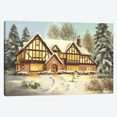 """Snowman With House Canvas Print #RSR130} by D. """"Rusty"""" Rust Canvas Art Print"""
