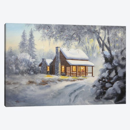 """Winter Cabin Canvas Print #RSR132} by D. """"Rusty"""" Rust Canvas Print"""
