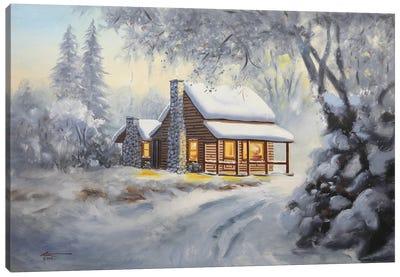 Winter Cabin Canvas Art Print