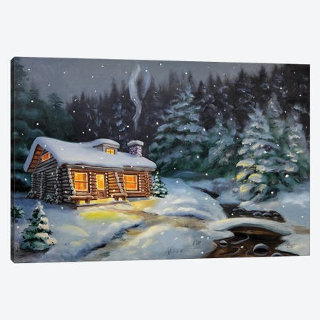 """Winter Cabin By The Creek With Evergreens Canvas Print #RSR133} by D. """"Rusty"""" Rust Canvas Art Print"""