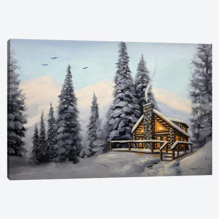 """Cabin With Evergreens At Daylight Canvas Print #RSR134} by D. """"Rusty"""" Rust Canvas Art"""