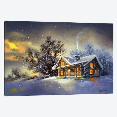 """Cabin In Winter At Dawn Canvas Print #RSR137} by D. """"Rusty"""" Rust Canvas Art"""