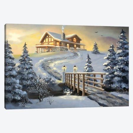 "Big Cabin With Bridge Canvas Print #RSR138} by D. ""Rusty"" Rust Art Print"