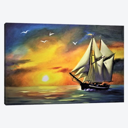 """Sailing At Sunset Canvas Print #RSR144} by D. """"Rusty"""" Rust Art Print"""