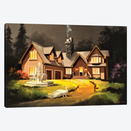 """House With Peacock Canvas Print #RSR157} by D. """"Rusty"""" Rust Canvas Wall Art"""