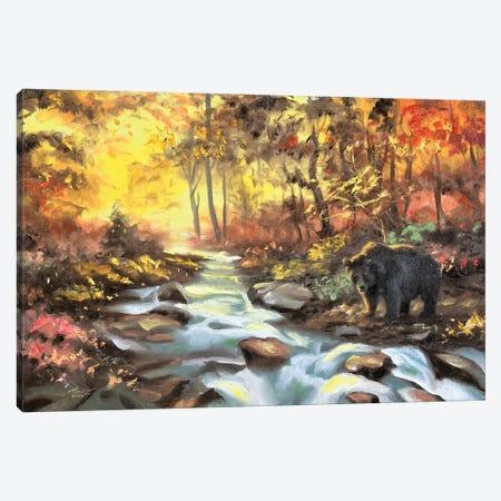 "Black Bear Autumn By The Creek Canvas Print #RSR17} by D. ""Rusty"" Rust Canvas Art"