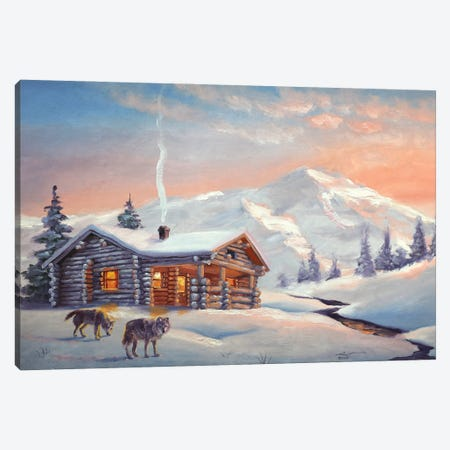"""Wolves By The Cabin Canvas Print #RSR195} by D. """"Rusty"""" Rust Canvas Wall Art"""