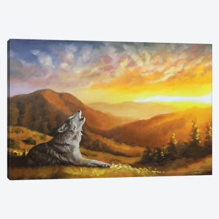 """Wolf Howling At Sunset Canvas Print #RSR199} by D. """"Rusty"""" Rust Art Print"""