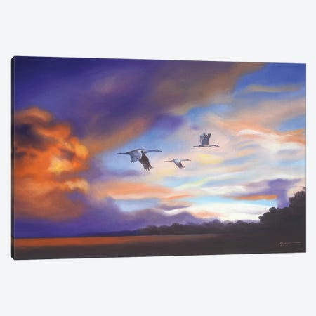 """Cranes With Purple Sunset Canvas Print #RSR226} by D. """"Rusty"""" Rust Canvas Art"""