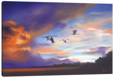 Cranes With Purple Sunset Canvas Art Print