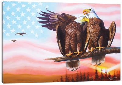 Two Eagles With American Flag Canvas Art Print
