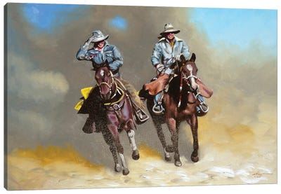 Cowboy and Cowgirl on Horses Canvas Art Print