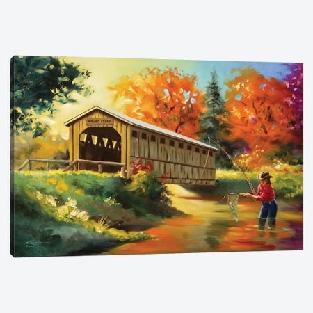 """Girl Fishing by Covered Bridge Canvas Print #RSR286} by D. """"Rusty"""" Rust Canvas Art"""