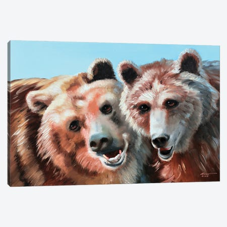 """Two Brown Bears Canvas Print #RSR310} by D. """"Rusty"""" Rust Canvas Print"""