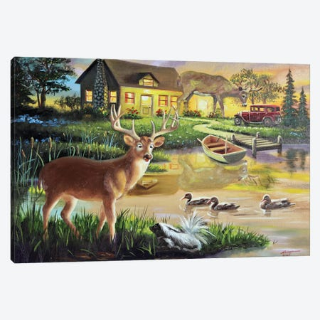 """Three Bucks And One Scent - Illusion Canvas Print #RSR323} by D. """"Rusty"""" Rust Canvas Artwork"""