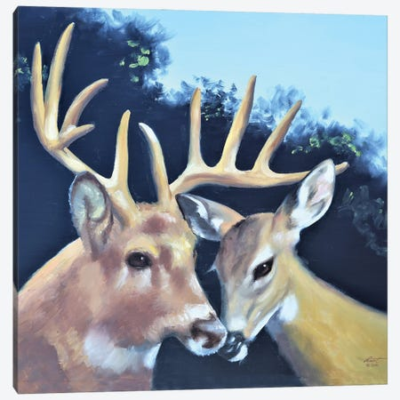 """Buck And Doe Canvas Print #RSR325} by D. """"Rusty"""" Rust Canvas Print"""