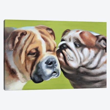 "Loving Bulldogs Canvas Print #RSR326} by D. ""Rusty"" Rust Canvas Art Print"