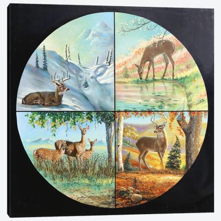 "Deer Four Seasons Canvas Print #RSR330} by D. ""Rusty"" Rust Art Print"