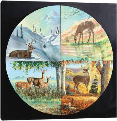 Deer Four Seasons Canvas Art Print