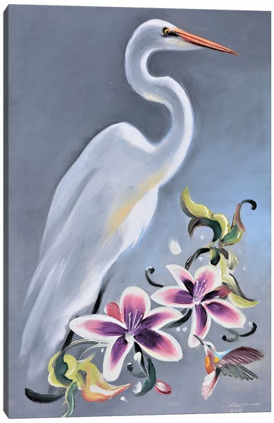 Egret With Orchids And Hummingbird Canvas Art Print