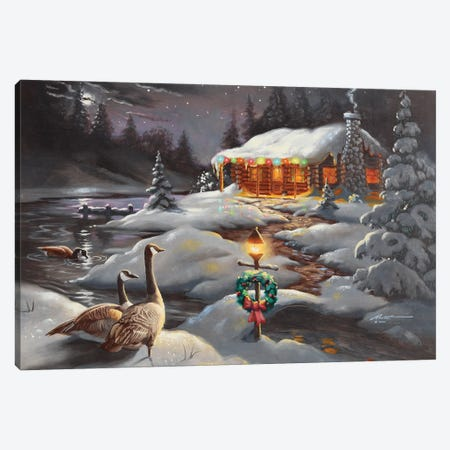 """Christmas Geese Canvas Print #RSR356} by D. """"Rusty"""" Rust Canvas Artwork"""