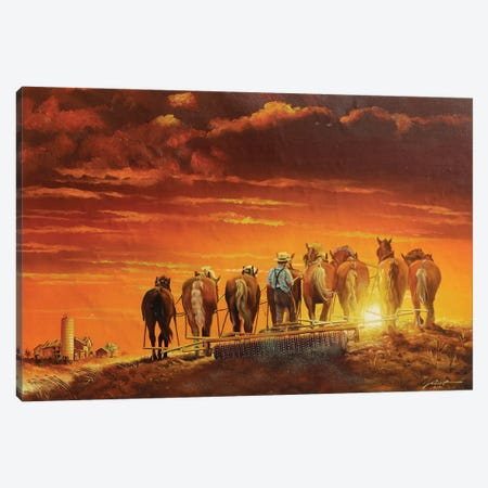 """Amish Man Farming With Horses And Antique Plow Canvas Print #RSR363} by D. """"Rusty"""" Rust Canvas Art"""