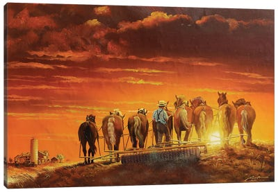 Amish Man Farming With Horses And Antique Plow Canvas Art Print