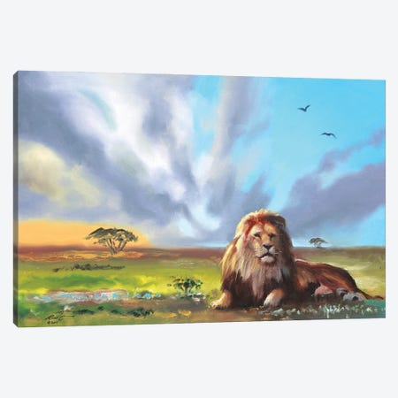 """Lounging Lion Canvas Print #RSR368} by D. """"Rusty"""" Rust Canvas Wall Art"""