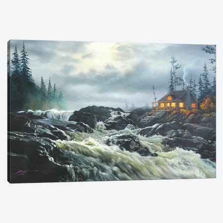 """Scenic River And Cabin Canvas Print #RSR372} by D. """"Rusty"""" Rust Art Print"""