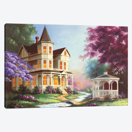 """House With Gazebo Canvas Print #RSR376} by D. """"Rusty"""" Rust Canvas Artwork"""