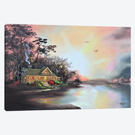 """Cabin At Daybreak Canvas Print #RSR382} by D. """"Rusty"""" Rust Canvas Art"""
