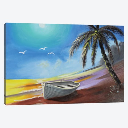 """Row Boat On The Beach With Palm Tree Canvas Print #RSR385} by D. """"Rusty"""" Rust Art Print"""