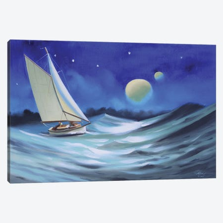 """Sailing In The Moonlight Canvas Print #RSR389} by D. """"Rusty"""" Rust Canvas Art"""