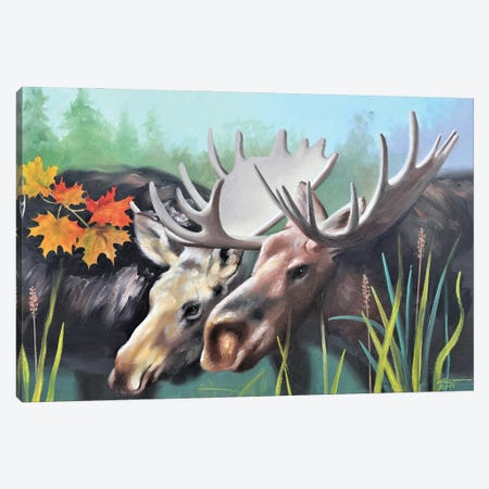 """A Pair Of Moose Canvas Print #RSR391} by D. """"Rusty"""" Rust Art Print"""