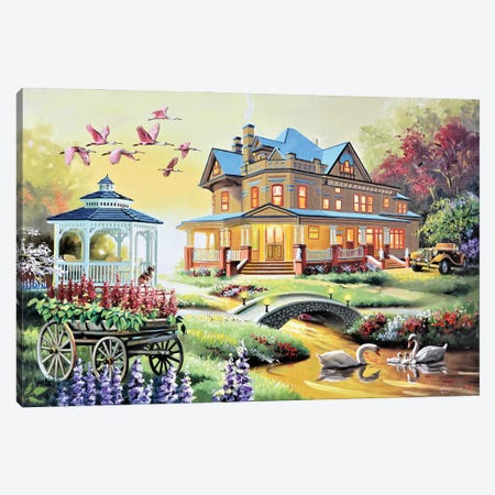 """Pretty House With Wildlife Canvas Print #RSR397} by D. """"Rusty"""" Rust Canvas Art"""