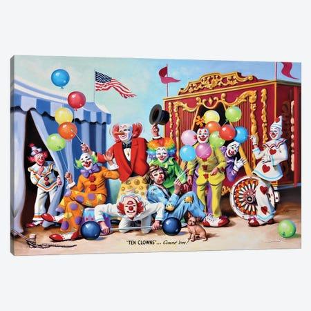 "Ten Clowns Canvas Print #RSR401} by D. ""Rusty"" Rust Canvas Print"