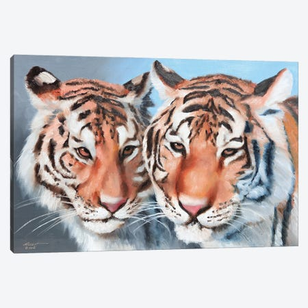 """Two Tigers Canvas Print #RSR421} by D. """"Rusty"""" Rust Canvas Print"""