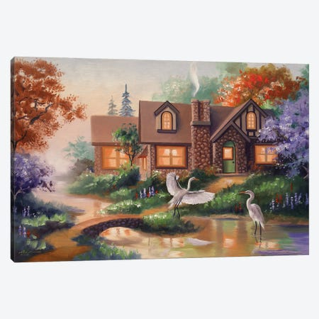 """Egrets By The Pond With House Canvas Print #RSR52} by D. """"Rusty"""" Rust Canvas Art Print"""