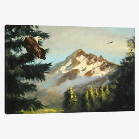 """Bald Eagle With Mountain View Canvas Print #RSR55} by D. """"Rusty"""" Rust Canvas Artwork"""