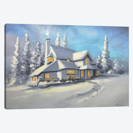 """Snow-Covered House Canvas Print #RSR68} by D. """"Rusty"""" Rust Canvas Wall Art"""